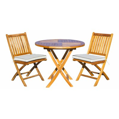Sthilaire 3 Piece Teak Sunbrella Bistro Set With Cushions by Highland Dunes Great price