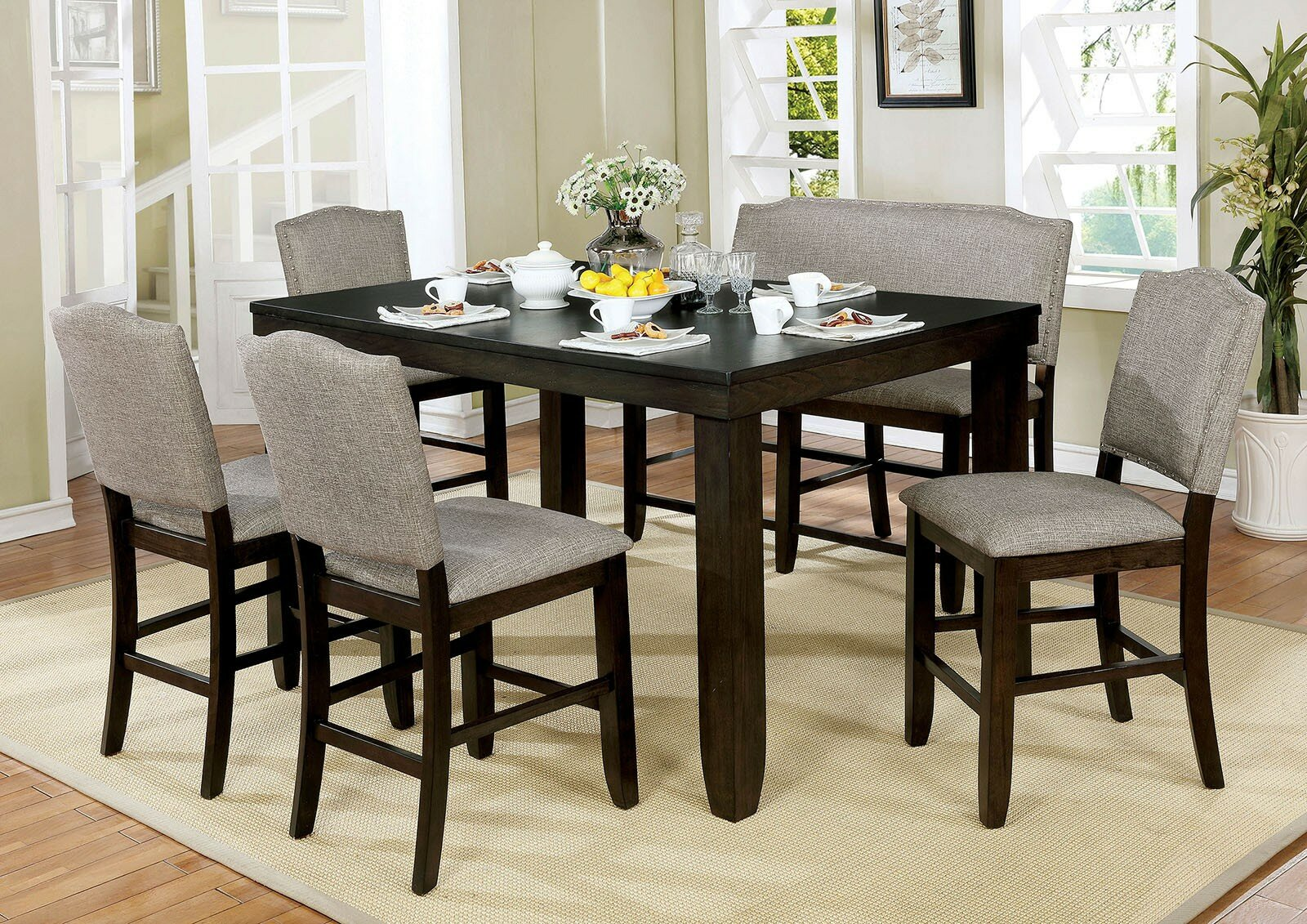 size 40 a5608 64a34 Canora Grey Len 6 Piece Drop Leaf Breakfast Nook Dining Set ...