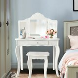 Leboeuf Makeup Dressing Vanity with Stool and Mirror by Harriet Bee