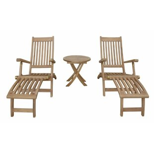 Anderson Teak Tropicana Montage Teak Chaise Lounge with Table