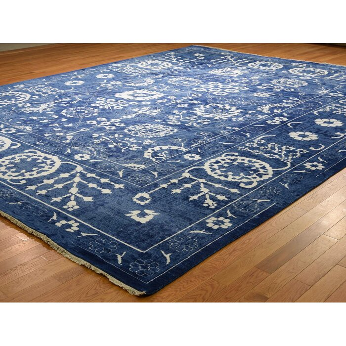 One Of A Kind Beason Tone On Oversize Hand Knotted 12 X 15 2 Wool Silk Blue Area Rug