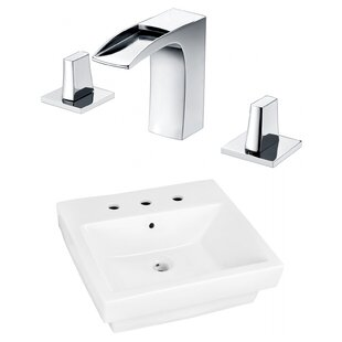 Ceramic Rectangular Bathroom Sink with Faucet and Overflow ByRoyal Purple Bath Kitchen