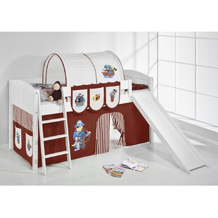 Pirate European Single Mid Sleeper Bed with Bottom Bunk Curtain by Just Kids