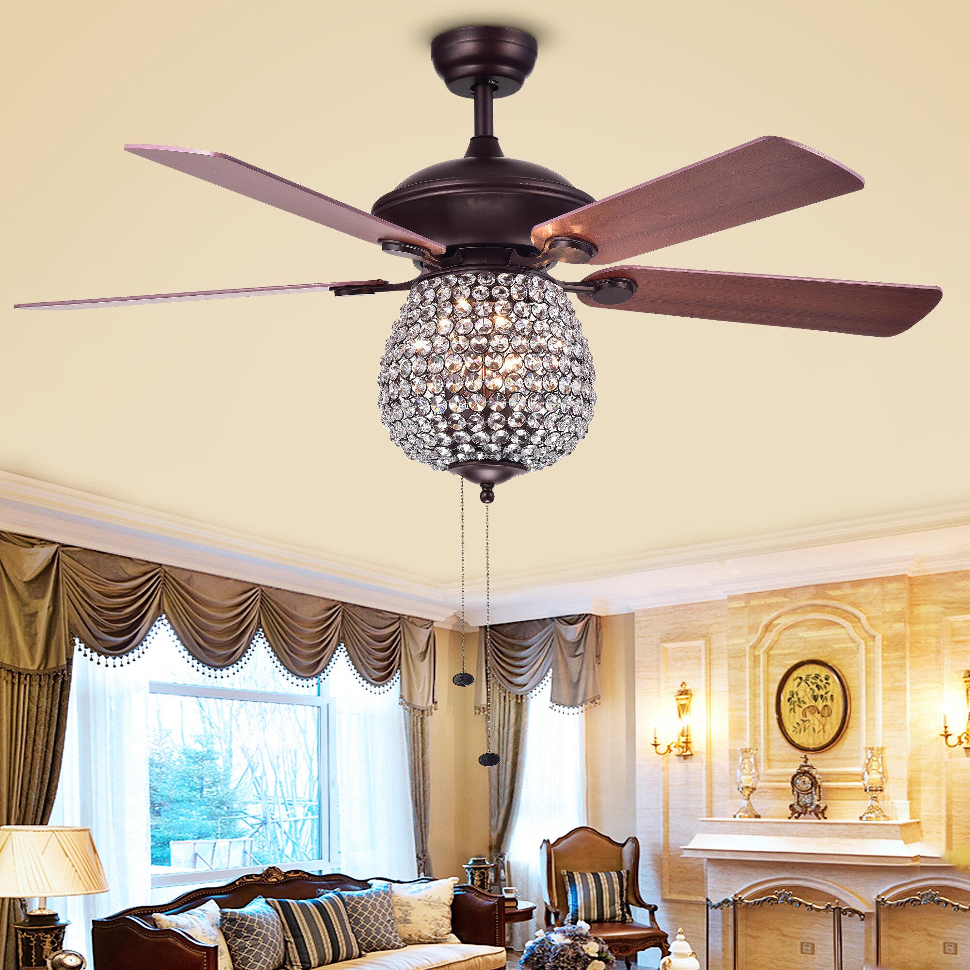 Image of: House Of Hampton 52 Spalding Crystal Basket 5 Blade Ceiling Fan Reviews Wayfair Ca
