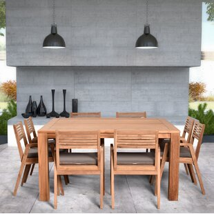 Hoff 9 Piece Teak Dining Set with Sunbrella Cushions (Set of 9) by Rosecliff Heights