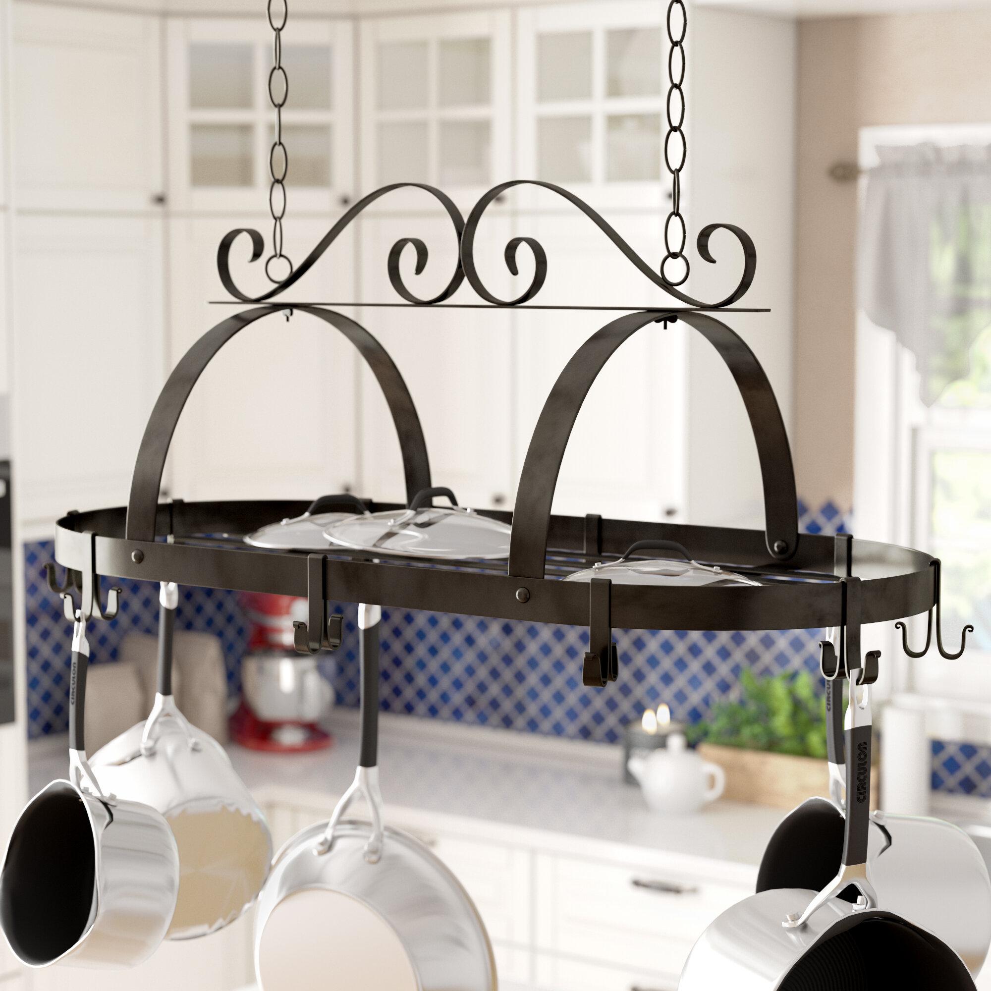 Darby home co kitchen hanging pot rack reviews wayfair