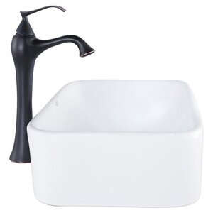 Bathroom Combos Ceramic Rectangular Vessel Bathroom Sink with Faucet