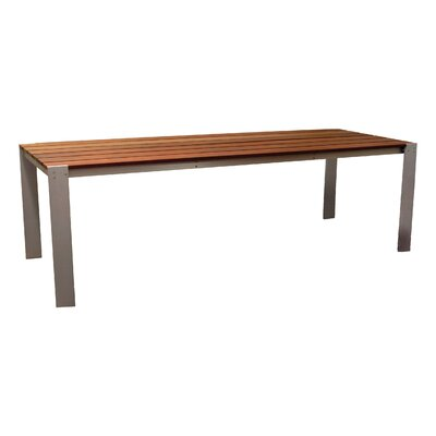 """Luma Solid Wood Dining Table Modern Outdoor Table Size: 54""""x96"""", Finish: Glacier Grey Polyboard"""