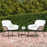 Shiv Chat 3 Piece Rattan Seating Group With Cushions By Brayden Studio Newshopfurnitures