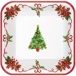 Traditional Christmas Square Paper Appetizer Plate (Set of 360)