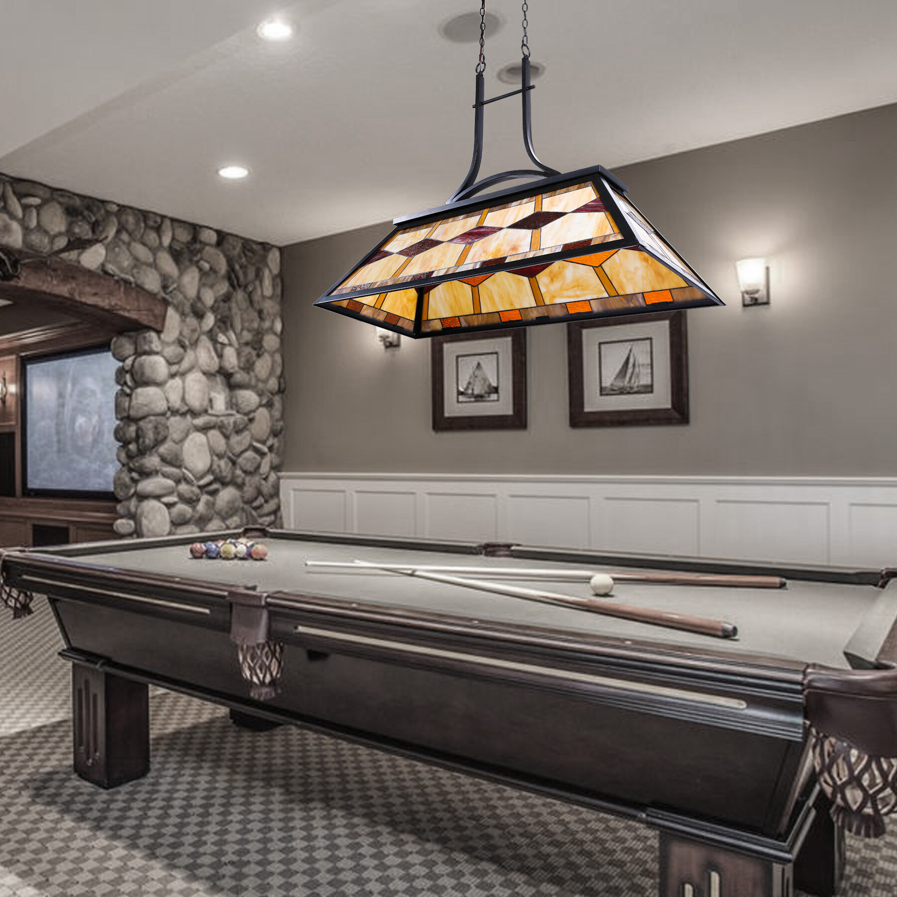 Millwood Pines Dake 3 Light Pool Table Linear Pendant With Wrought Iron Accents Reviews Wayfair