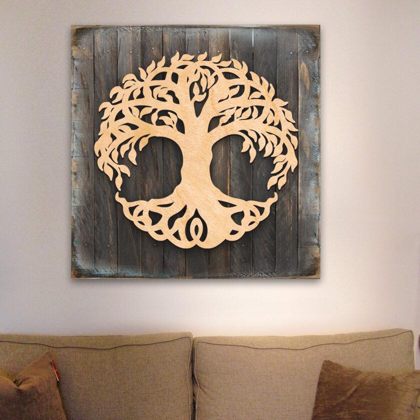 Tree Of Life Wooden Block Celtic Spiritual Wall Decor