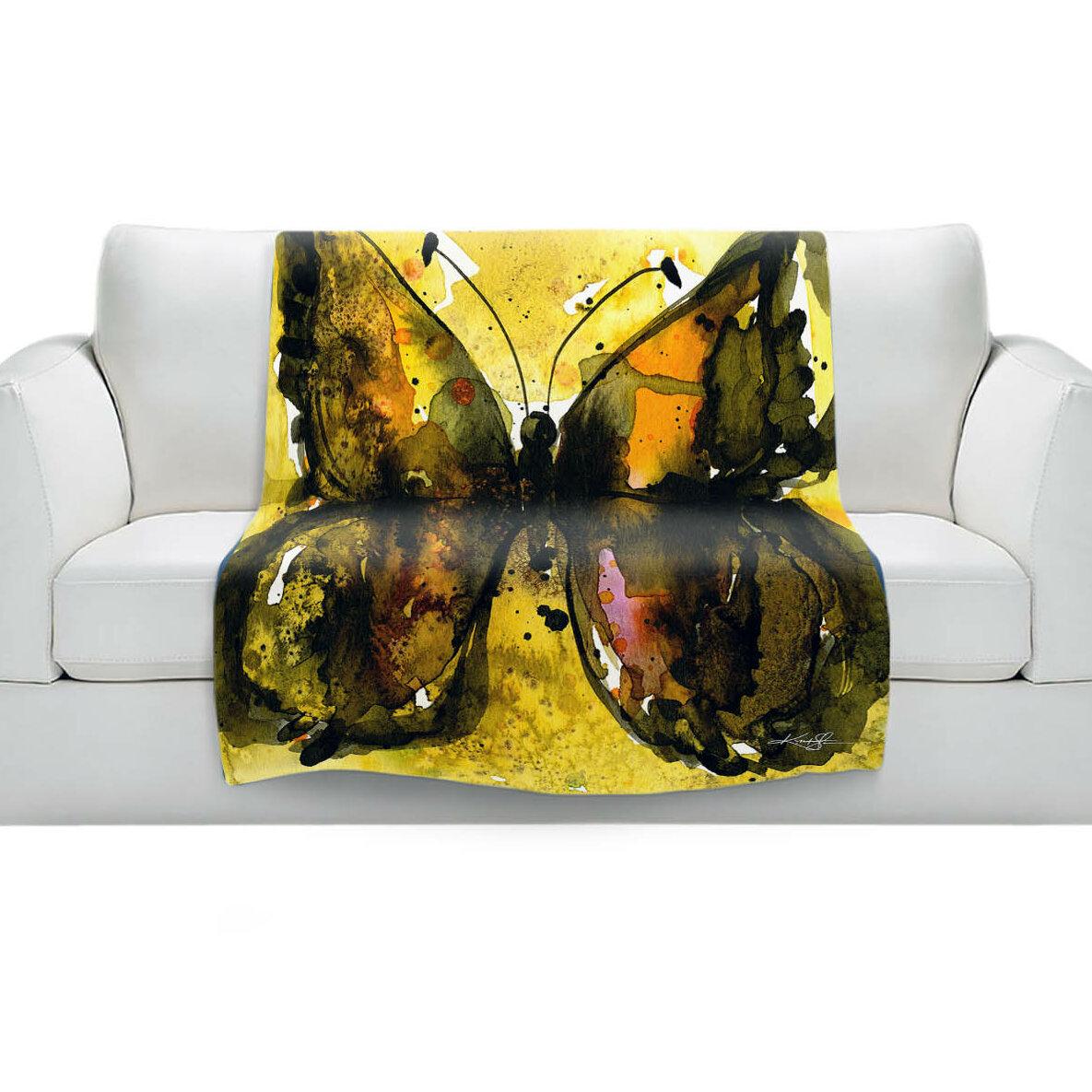 East Urban Home Watercolor Butterfly 30 Blanket Wayfair