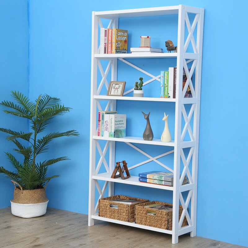 Highland Dunes Leeson Wide Etagere Bookcase | Wayfair