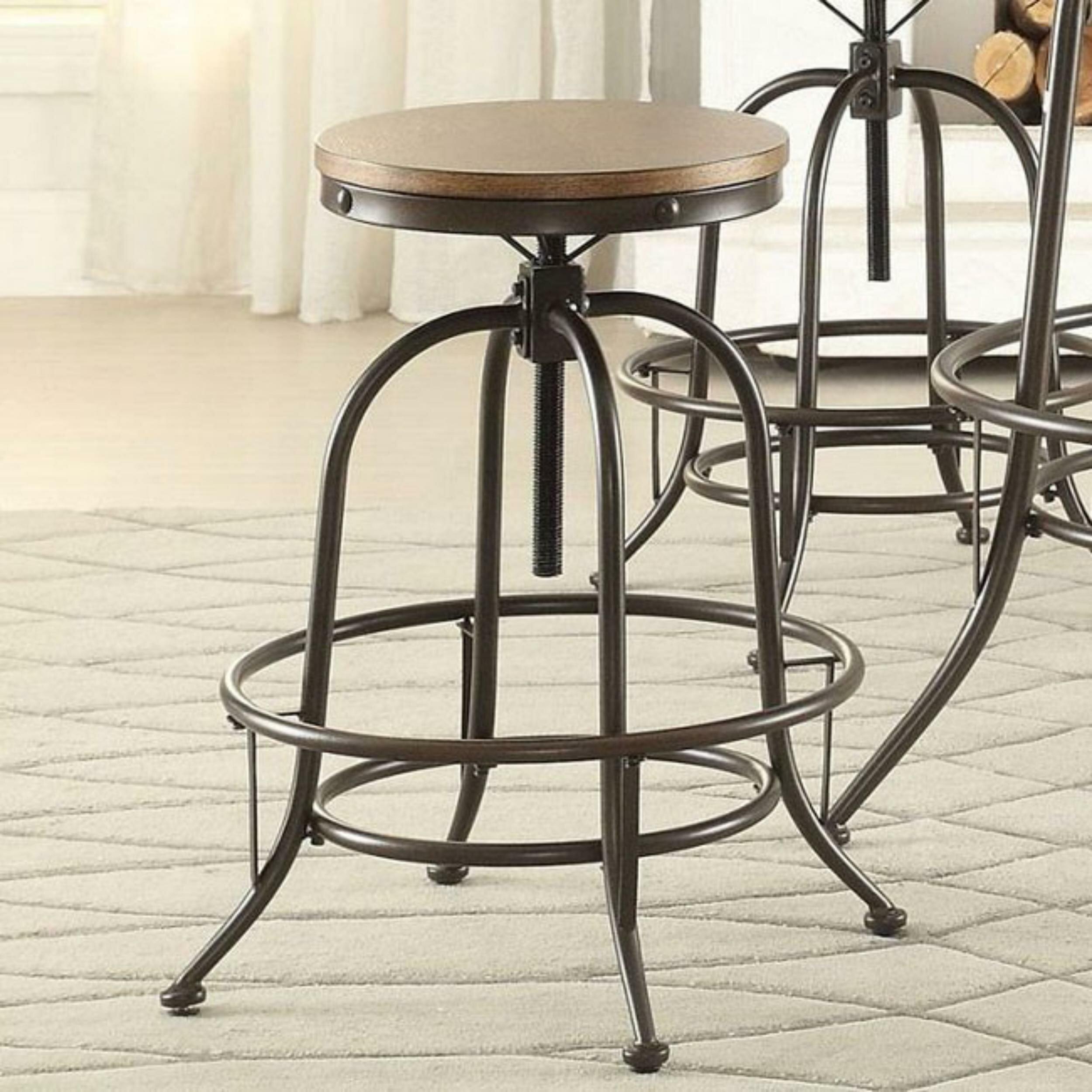 Brilliant Wynona Wood Metal Backless Adjustable Height Swivel Bar Stool Creativecarmelina Interior Chair Design Creativecarmelinacom