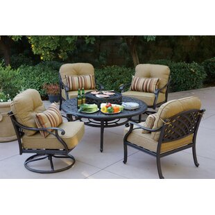 Fleur De Lis Living Lincolnville 5 Piece Conversation Set with Cushions
