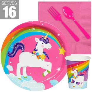 80 Piece Fairytale Unicorn Snack Plastic Disposable Party Supplies Set