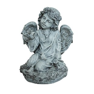 Scotty Resin Angel With Dove Statue by Astoria Grand