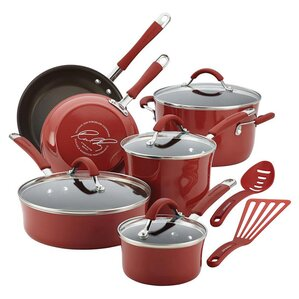 12-Piece Nonstick Aluminum Cookware Set in Cranberry Red by Rachael Ray