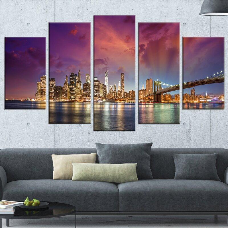 DesignArt \'New York City Manhattan Skyline\' 5 Piece Wall Art on ...