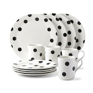 All In Good Taste Deco Dot 12 Piece Dinnerware Set Service for 4  sc 1 st  Wayfair : art deco tableware - pezcame.com