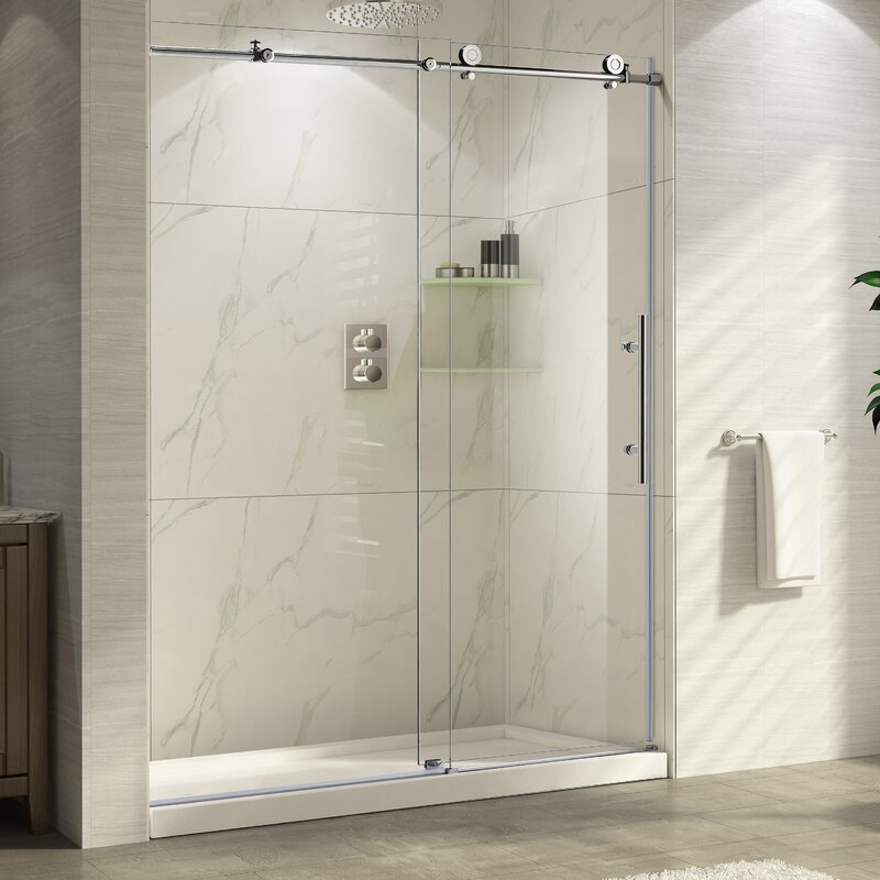 Frameless Shower Doors.Trident 48 X 76 Single Sliding Frameless Shower Door