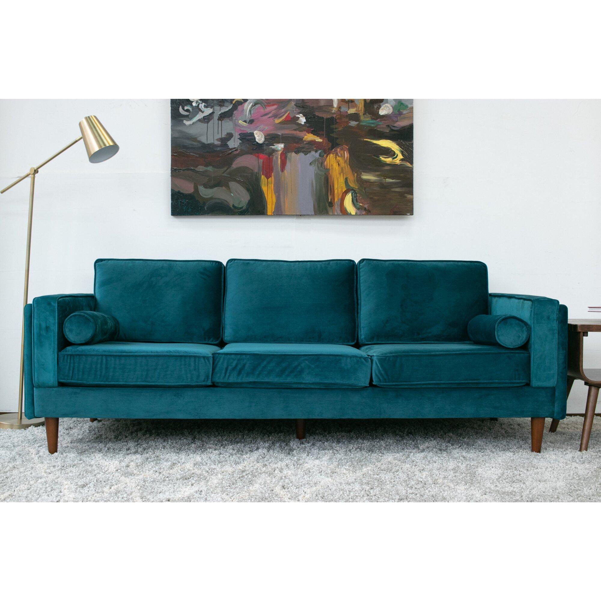 Joss Main 88 Wide Velvet Square Arm Sofa Reviews Wayfair