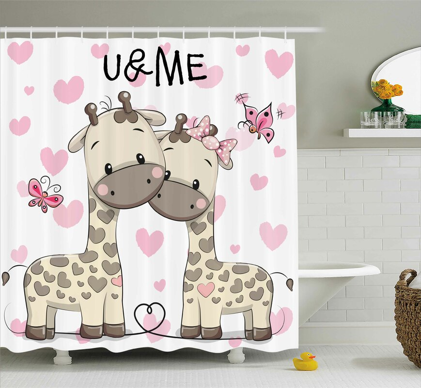 Harriet Bee Jamie Kids Cute Giraffes Baby Shower Curtain Reviews