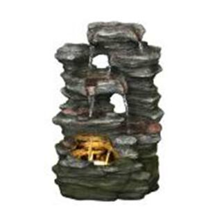 Hi-Line Gift Ltd. Resin Multi-Level Stone Fountain with Light