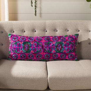 Pointer Embroidered Velvet Lumbar Pillow