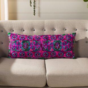 Pointer Embroidered Velvet Lumbar Pillow