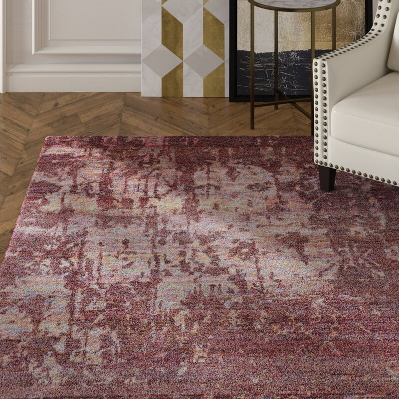 Mercer41 Preminger Abstract Hand Knotted Wine Area Rug Wayfair