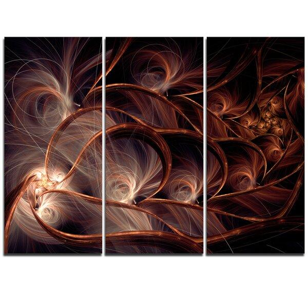 Designart Glittering Brown Fractal Flower On Black 3 Piece Graphic Art On Wrapped Canvas Set Wayfair