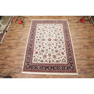 Best Reviews One-of-a-Kind Gerace Kashmar Persian Hand-Knotted 8'4 x 11'6 Wool Ivory/Black Area Rug By Isabelline