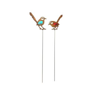 Maloney 2 Piece Rusty Birds Garden Stake Set By Happy Larry