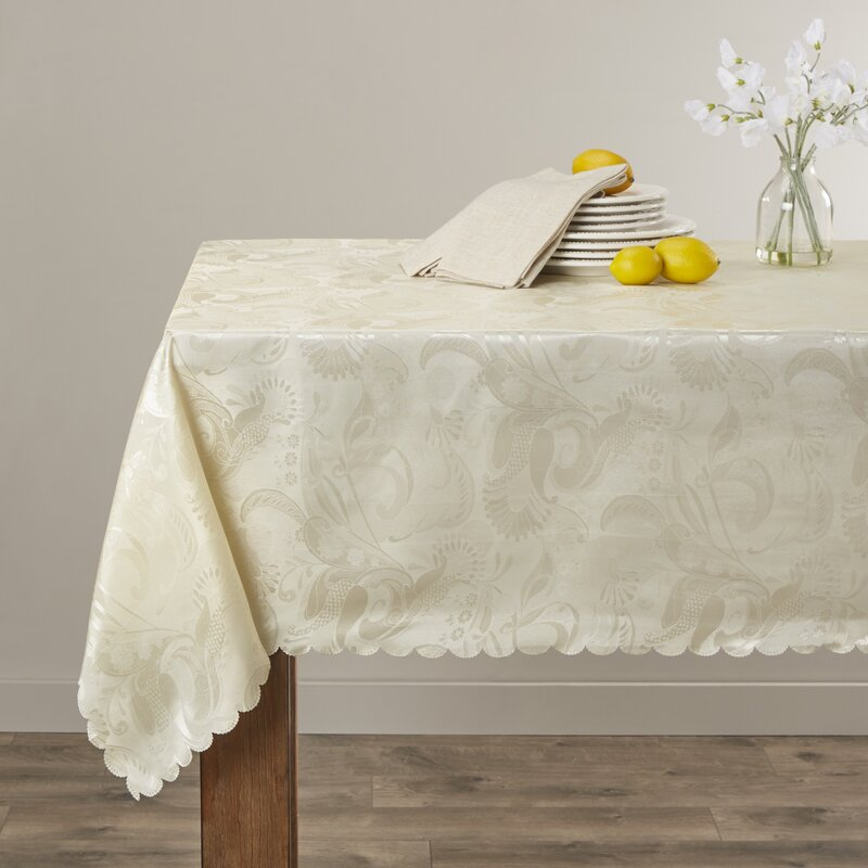 "Alcott Hill Oglethorpe Tablecloth  Size: 52"" W x 70"" L, Color: Ivory"