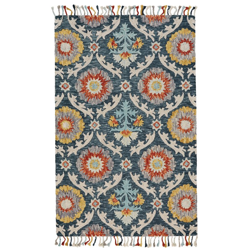 Bungalow Rose Fluery Handmade Tufted Wool Blue Area Rug Reviews Wayfair