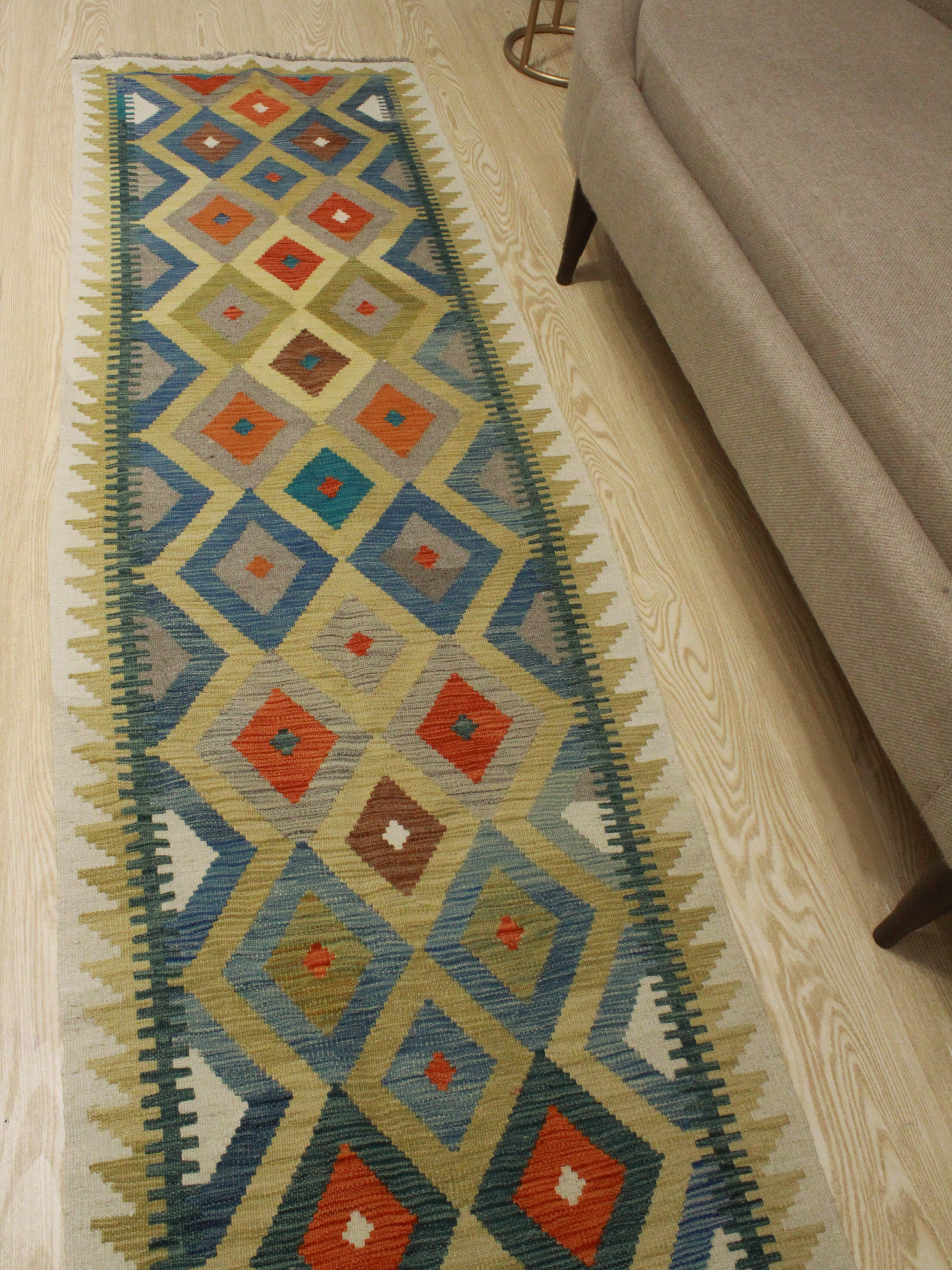 Foundry Select Runner Hults Southwestern Hand Woven Wool Green Area Rug Wayfair