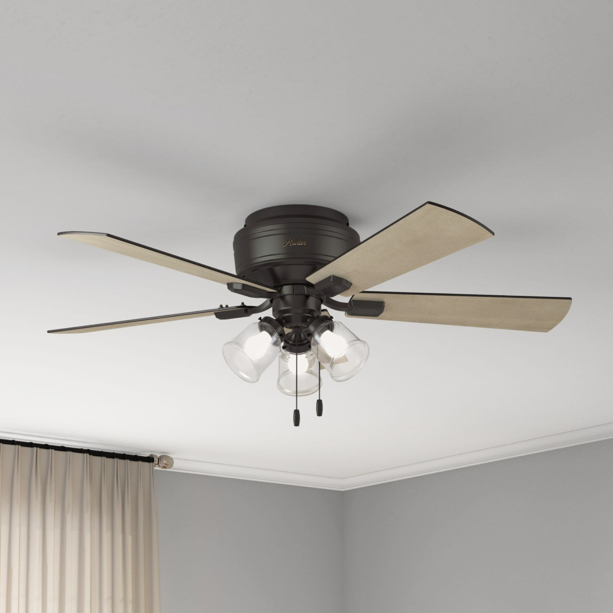 Hunter Fan 52 Crestfield 5 Blade Flush Mount Ceiling Fan With Pull Chain And Light Kit Included Reviews Wayfair Ca
