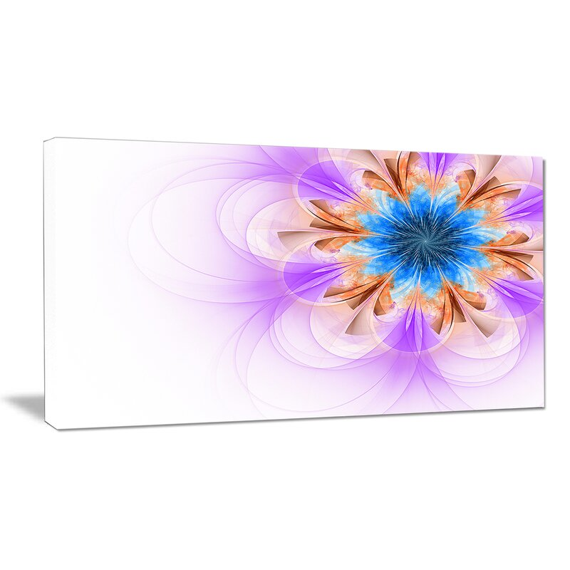Designart Blue And Purple Symmetrical Fractal Flower Graphic Art On Wrapped Canvas Wayfair