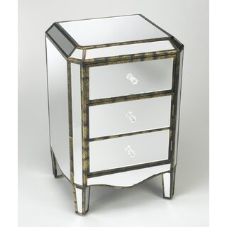 Alizeh 3 Drawer Mirored Cabinet Accent Chest by Rosdorf Park SKU:CE994351 Information