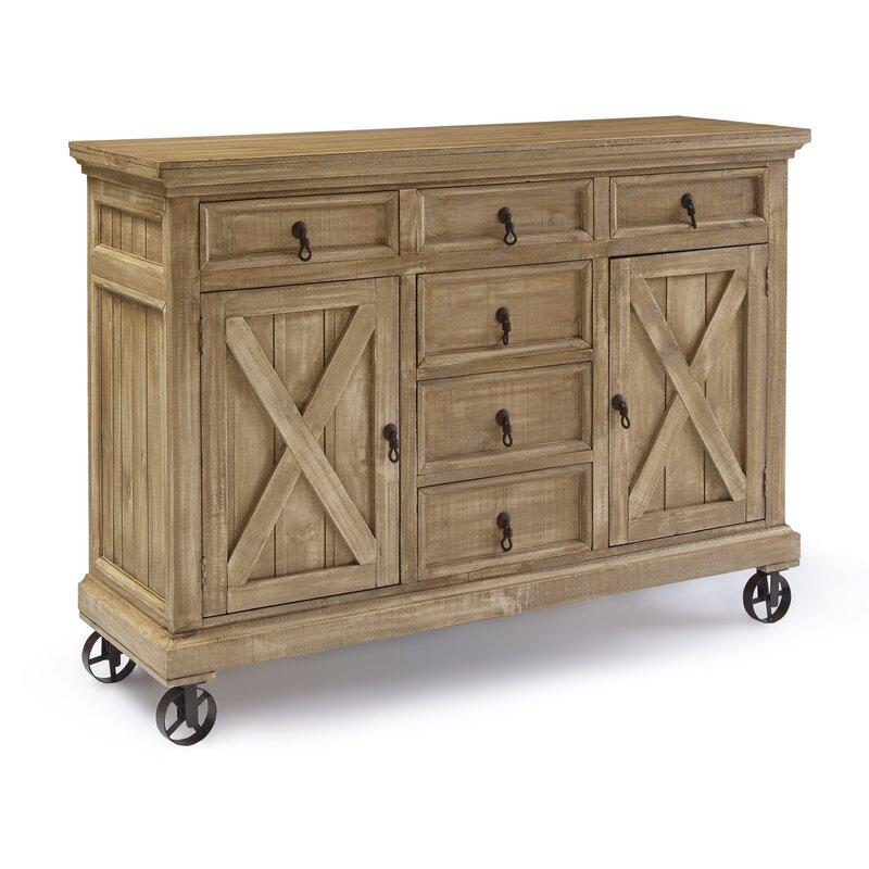 Gracie Oaks Schroder 63 Wide 6 Drawer Pine Wood Sideboard Reviews Wayfair
