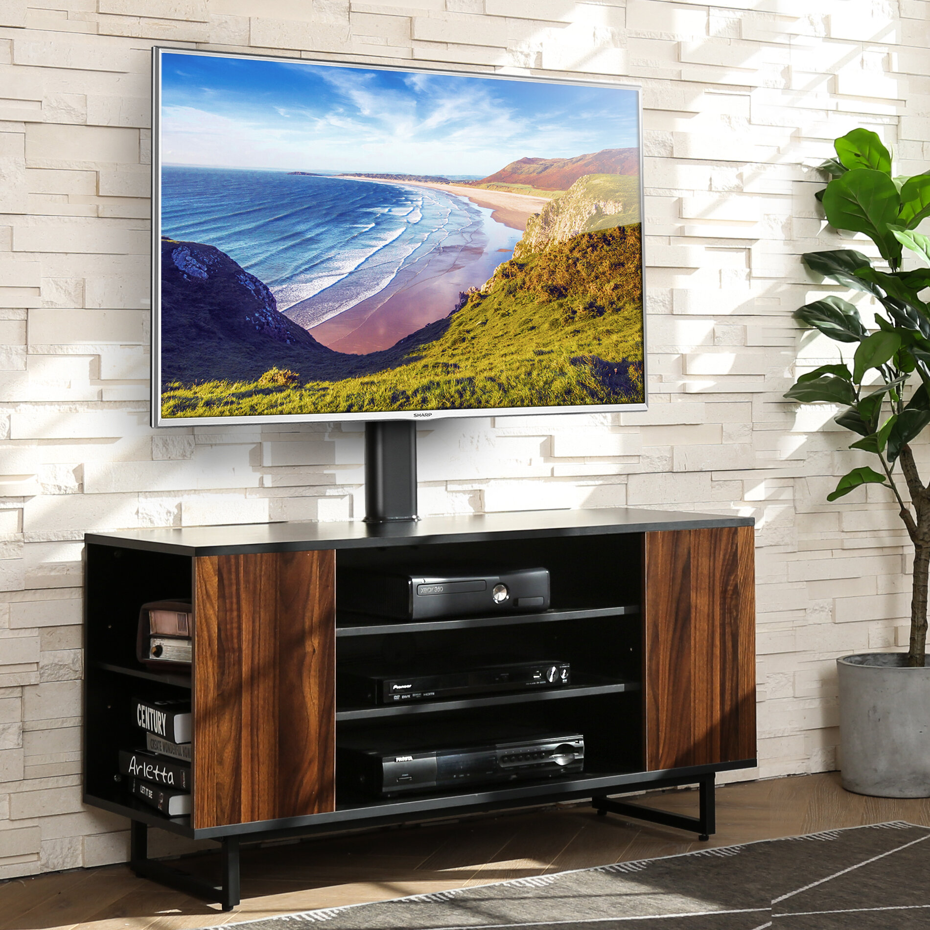FITUEYES Floor TV Stand with Wood Base /& 3-Tier Shelf for 32 to 65 inch LCD LED OLED Plasma Flat Panel or Curved Screen Hold up to 88 lbs