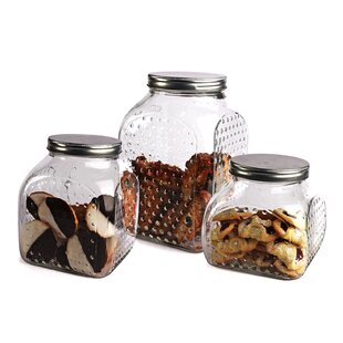Hobnail Square Bottom 3 Piece Kitchen Canister Set (Set of 3)