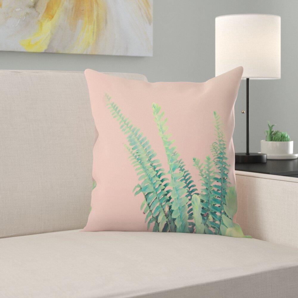 East Urban Home Ferns On Pink Throw Pillow Wayfair