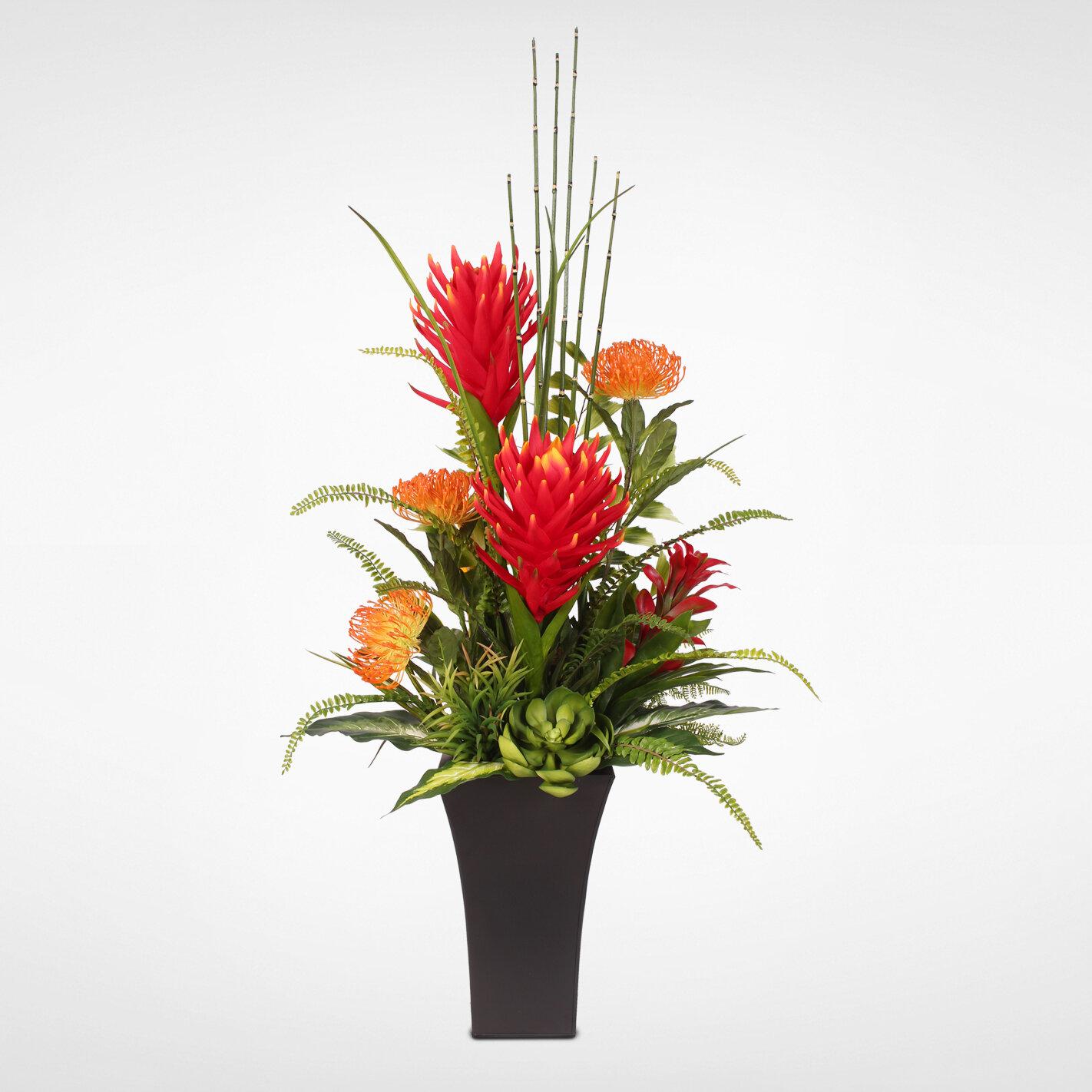 Red Barrel Studio Tropical Protea With Artificial Succulents Floral