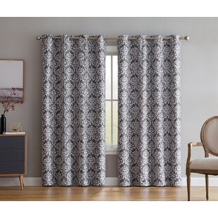 Buffington Print Damask Max Blackout Thermal Grommet Curtain Panels (Set of 2) by House of Hampton