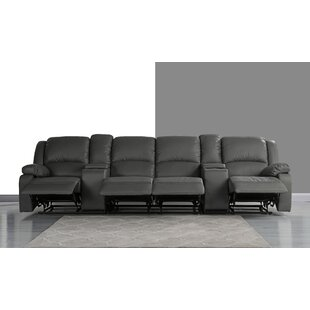 Red Barrel Studio 4 Seat Home Theater Sofa with Cup Holder