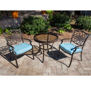 Darby Home Co Barrowman 3 Piece Bistro Set with Cushions