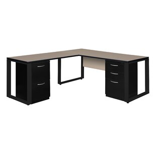 Ebern Designs Mireya Double Laminate Pedestal L-Shape Executive Desk
